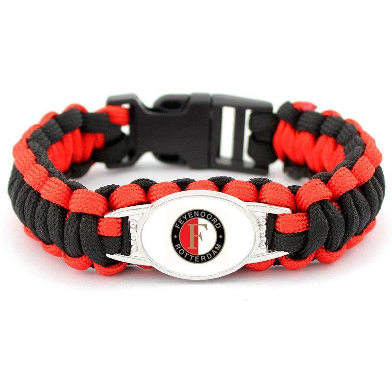 Fashion Dutch Eredivisie Football Sport Teams Ajax Feyenoord Charm Paracord Survival Bracelets & Bangles For Men Women 1pcs