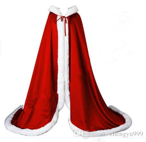 Plus size Winte Bridal Shawls Jackets Cape Faux Fur Christmas Cloaks Hooded Perfect Wedding Wraps Abaya Wedding Dresses