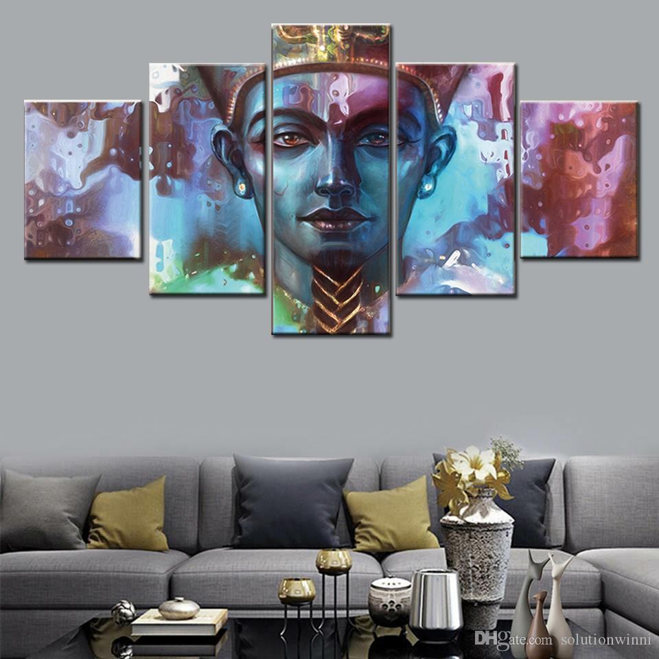 5 Panel ägyptisch Pharaobild Print Wandkunst modular Poster Malerei HD Home Decor Modernes Leinwand Wohnzimmer
