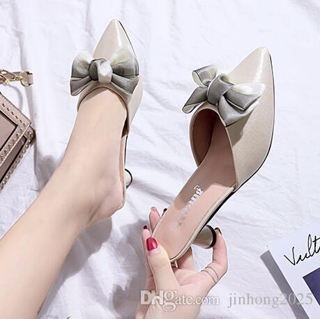 Sandalias para mujer ropa de verano moda nuevo arco dulce perezoso baotou medias zapatillas tacón alto estilete zapatos de mujer