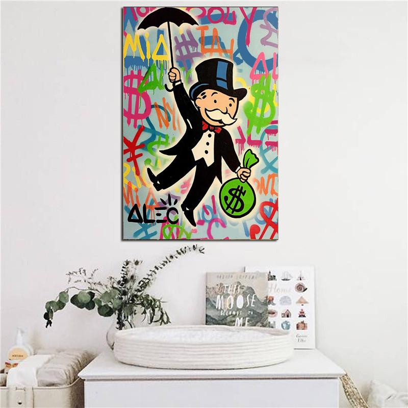 Alec Monopolies Riding Money Pop Art Canvas Painting Print Bedroom Home Decoration Modern Wall Art Oil Painting Poster Pictures
