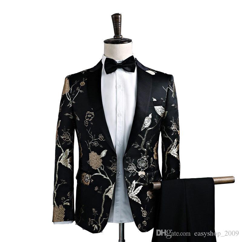 Terno dos homens primavera e no outono novo terno dos homens conjunto de duas peças (casaco + calça) magro dos homens forma formal vestido de festa de casamento