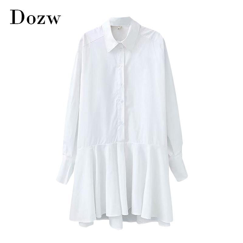 Donne camicia bianca Vestitino gira giù in strada lungo Ufficio manica Lady vestito pieghettato cotone sciolto vestito casuale Vestidos