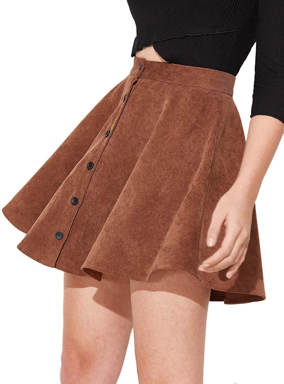 El botón para arriba más el tamaño plisado pana del patinador del cordón de las mujeres de la falda corta mini sólido de color púrpura muy buen gusto de las señoras de moda Faldas 2020 faldas