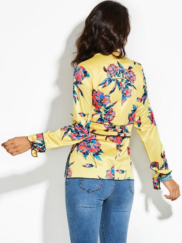 Camicetta delle donne Vintage Seta Autunno V-Neck Floral Pullover Giallo Stampa Bowknot 2020 superiore moderna di moda femminile ragazze camicetta delle donne
