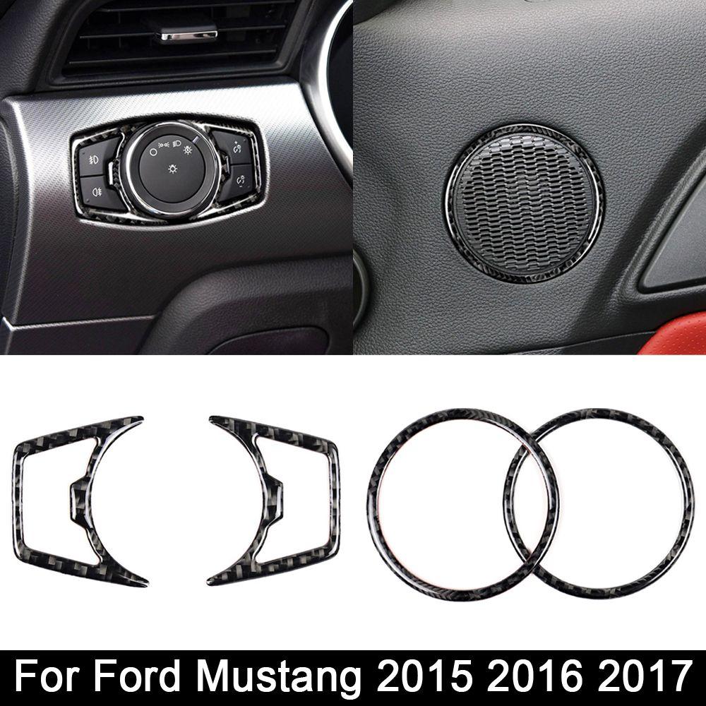 Ford Mustang Araba Etiketler Car-Styling 2015 2016 2017 Oto Aksesuarları için gerçek Karbon Elyaf far anahtarı hoparlör çerçevesi