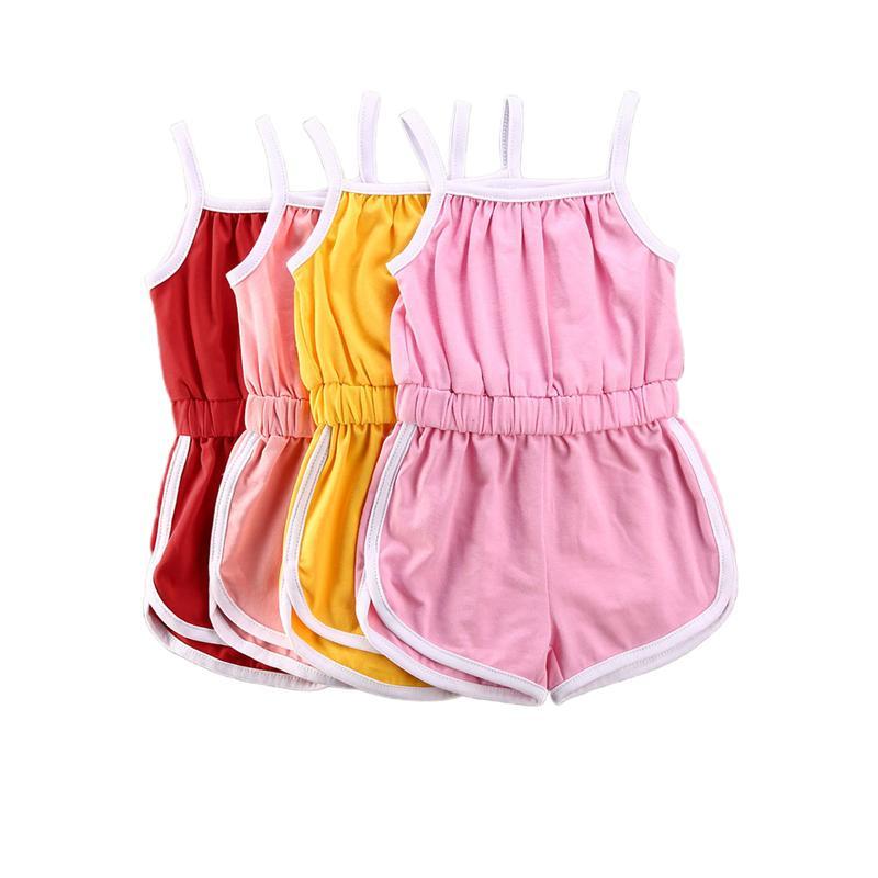 Été Tout-petit nourrisson Bébés filles manches Jumpsuit solides Combinaions Mode barboteuses Sport Casual