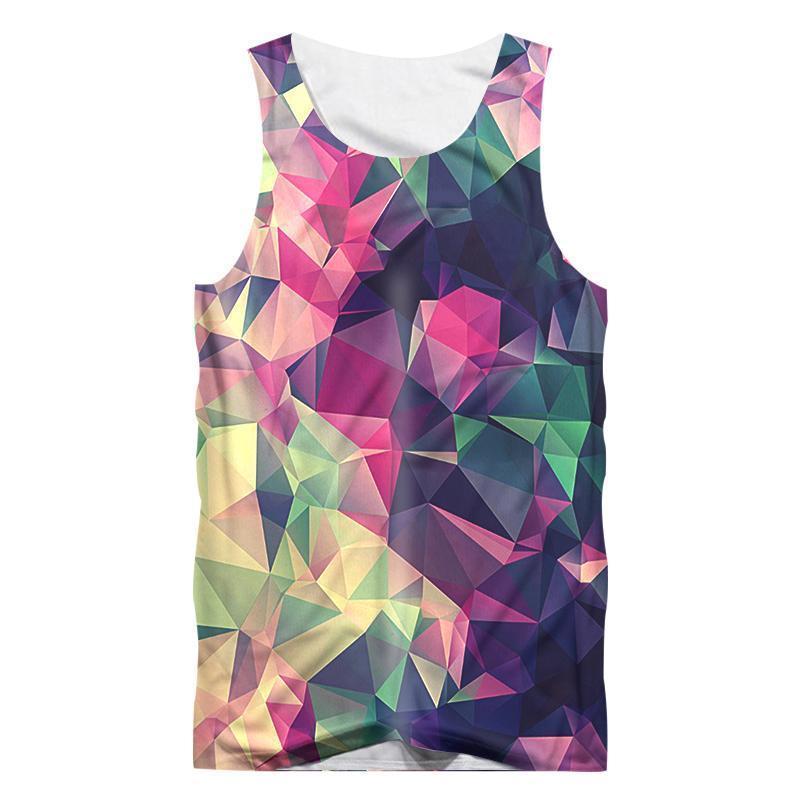 Повседневный Tank Top Мужчина Hip Hop Streetwear рукава рубашка Люди 3d печать Цвет Алмазного камень Tank Top плед фуфайка дышащего