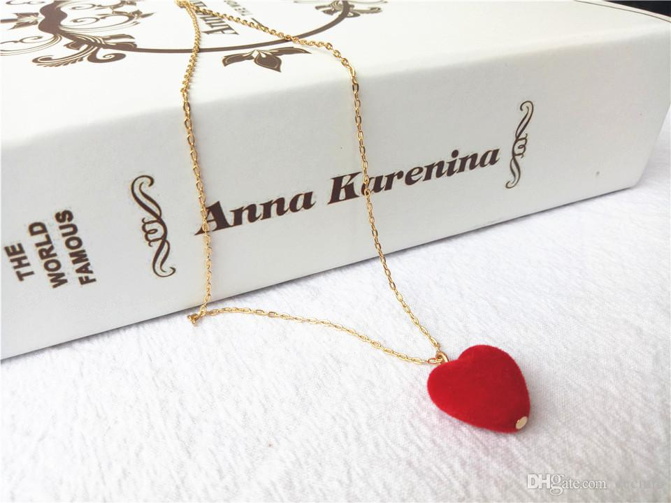 cecmic red heart rise 18k gold plate costume jewelry necklace designs for bride charm style jewellry
