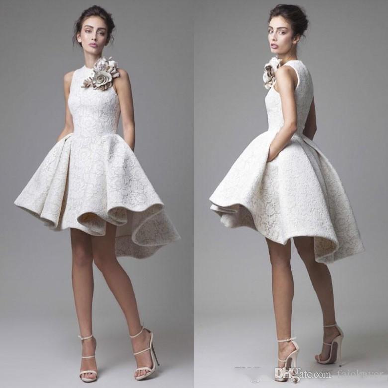 2019 화이트 댄스 파티 쥬얼 넥 라인 레이스 3D 꽃 꽃 높은 낮은 짧은 이브닝 드레스 Vestido de Festa Special Occasion Dress