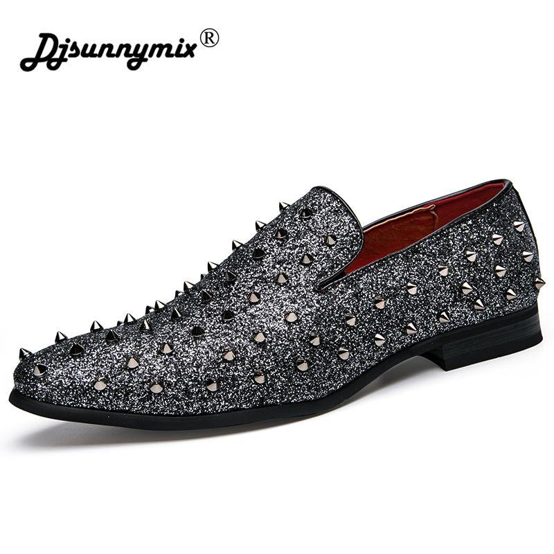 DJSUNNYMIX Brand luxury Design Men's Shoes Party Rivet decoration bling bling men Dress Wedding Shoes