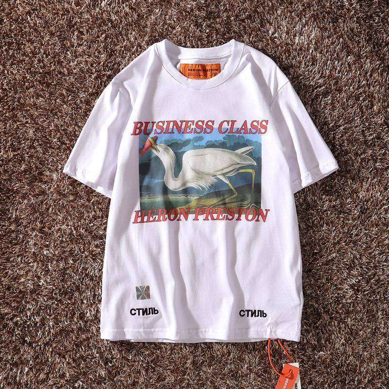 Moda Heron stampato uomini e donne Cotone Casual Manica Corta T-shirt Da Uomo
