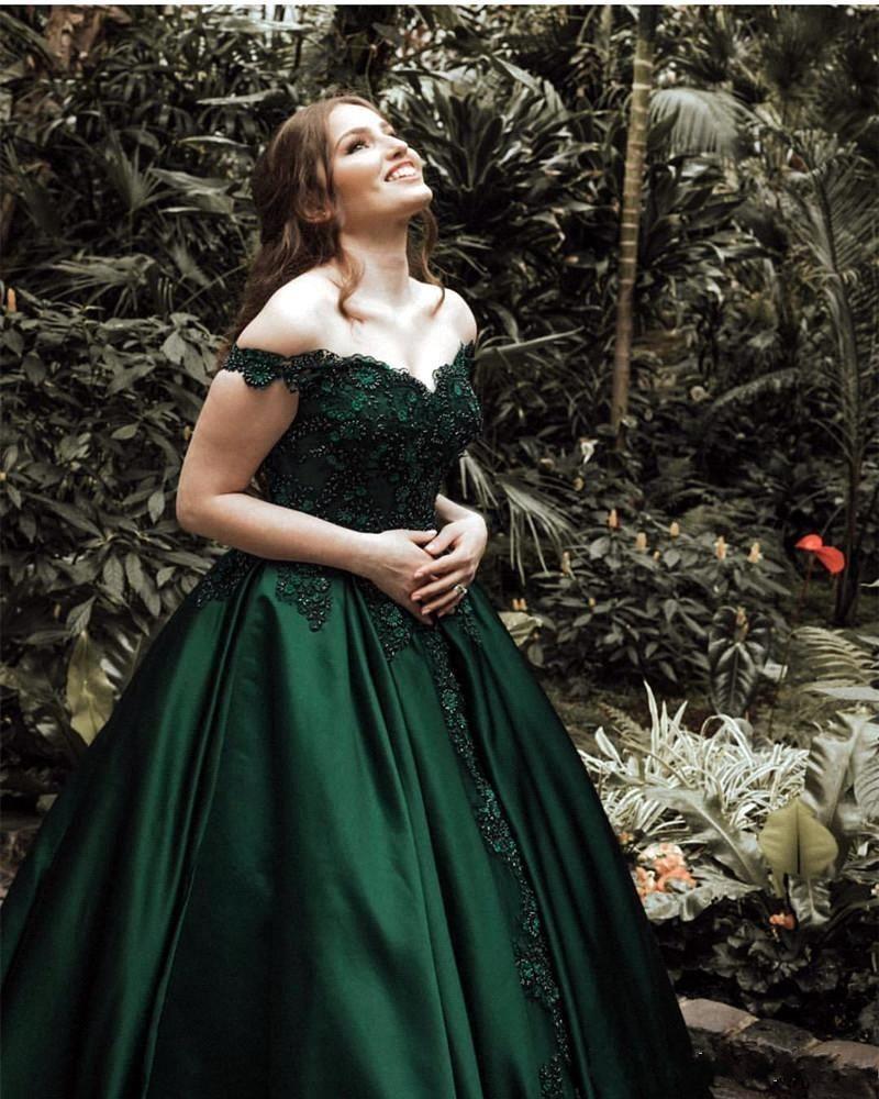 Новые темно-зеленый Пром платья атласная Sexy с плеча кружева аппликация бисером Формальные Случай платья Вечерние платья