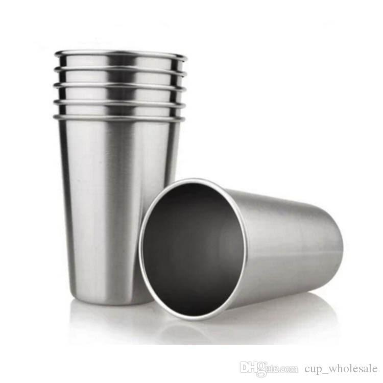 8 oz 12 oz Tek Duvar Paslanmaz Çelik Bardak Premium Sınıf Paslanmaz Çelik Pint Bardaklar Açık Havada Seyahat için Bira Bardak Su Bardakları