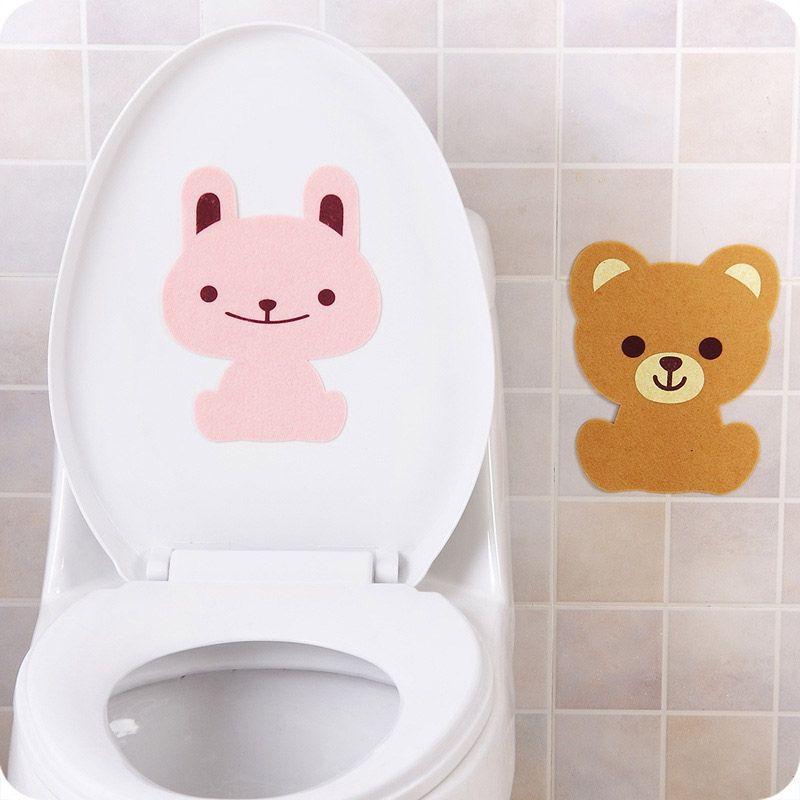 Sevimli Komik Karikatür Hayvan Banyo Duvar Tuvalet Sticker Kalınlaşmak Ev Dekorasyonu için Çıkarılabilir Closestool kokusunu gidermek Kendinden yapışkanlı Etiketler Keçe