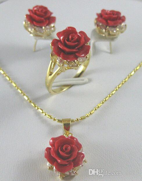 زفاف المرأة الجميلة 12MM المرجان الأحمر منحوت زهرة خاتم قلادة قلادة فضية موهير مودا