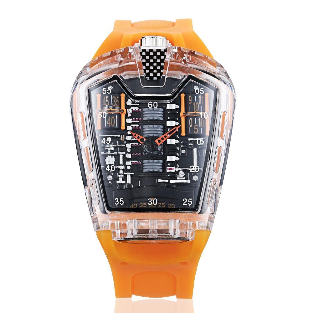 Sport Watch quartzo de alta qualidade Moda Silicone Strap Man Watches Assista Men Classic transparente
