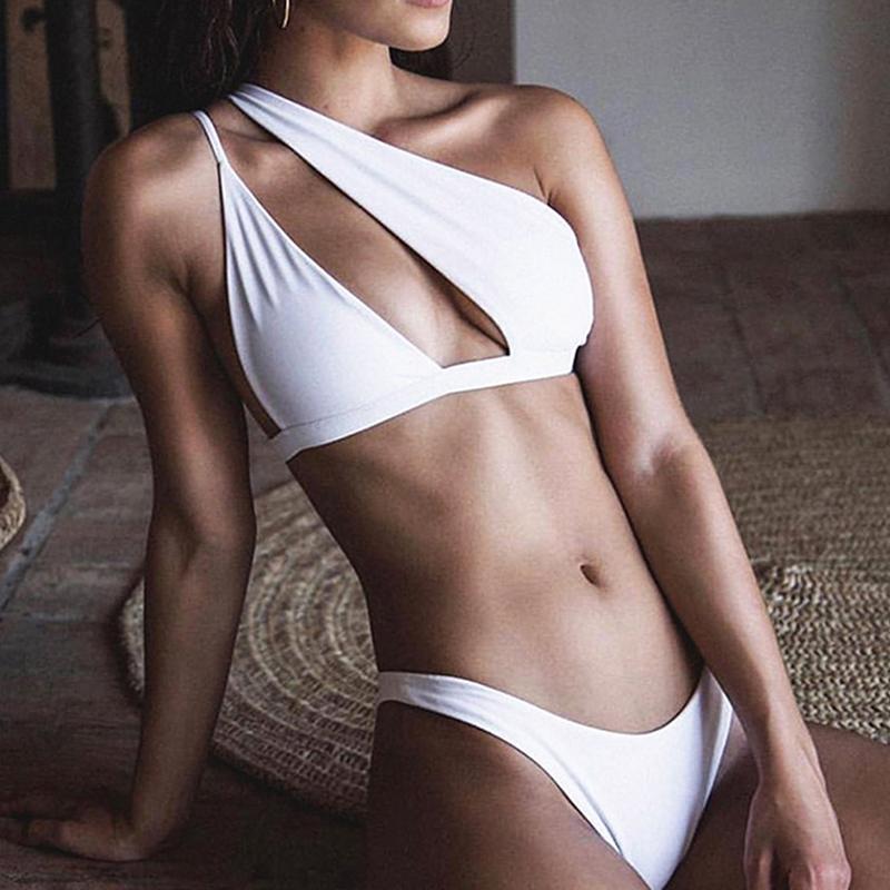 GAOKE Eine Schulter Bikini Set Sexy Bikini 2020 Hohe Schnitt Badeanzug weibliche Hohl Badeanzug aus Bademoden Badende Frauen