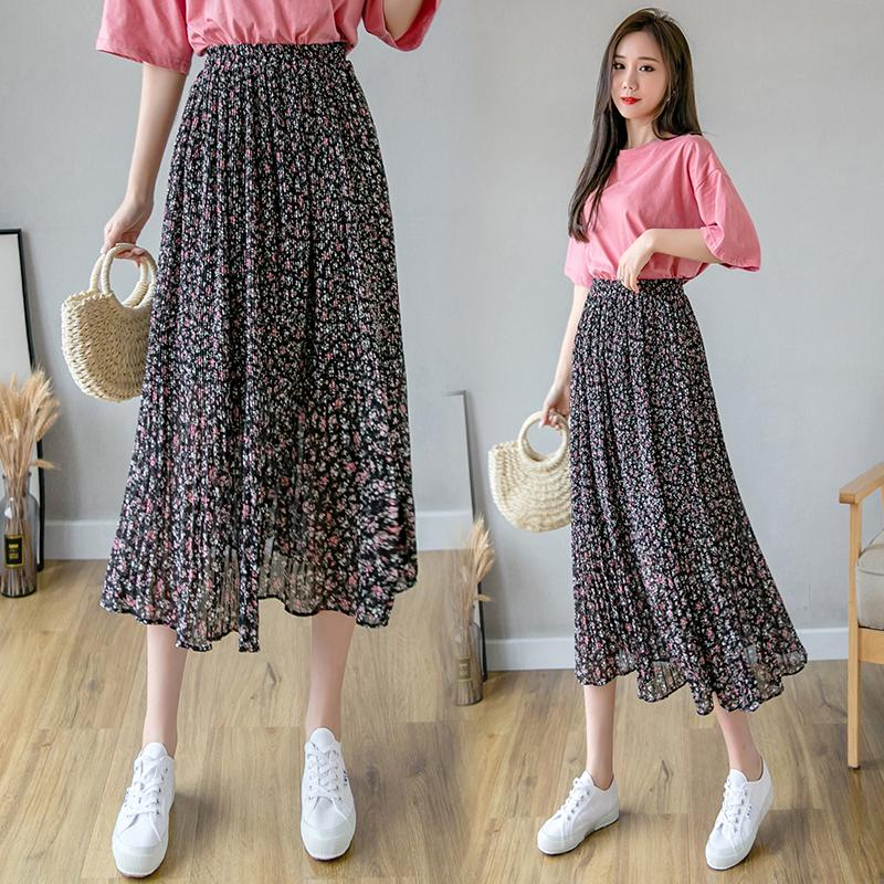 Falda larga para mujer Faldas Ropa de Calle 2020 gasa de la colmena de primavera y verano floral roja de alta elástico de la cintura de la vendimia de Harajuku