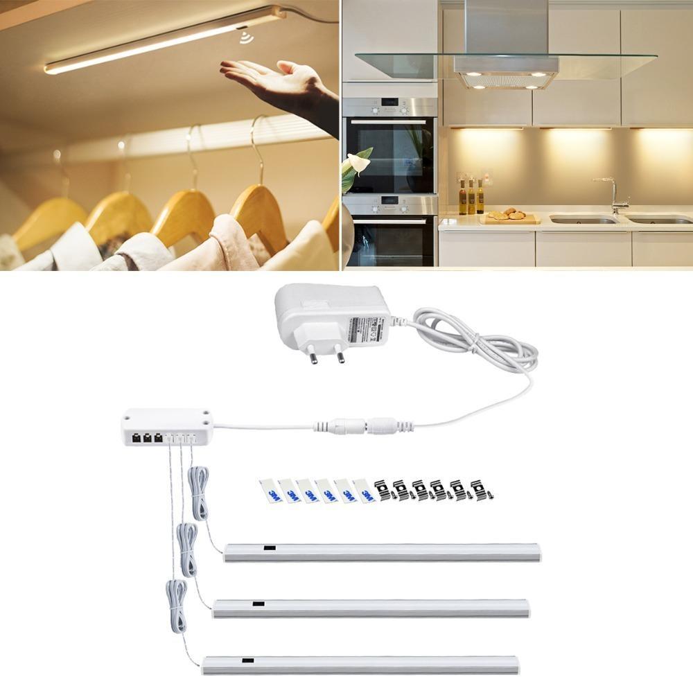 Hand Scan Bar Lamp Motion Sensor Ac 220v To Dc 12v Power Adapter Eu Plug Led Lights For Cabinet Closet Cupboard Kitchen Q190601