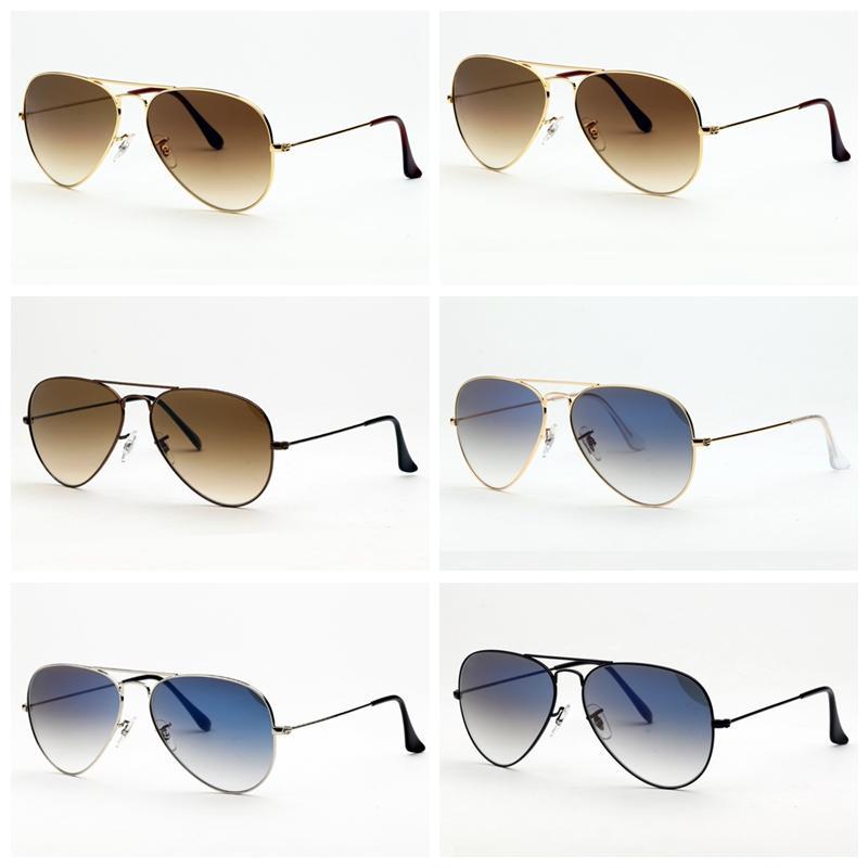 Óculos De Sol Original Projeto Piloto UV400 Lentes De Vidro Feito Por Homens Das Mulheres Óculos De Sol Des Lunettes De Soleil Casos De Couro Livre Acessórios e Caixa