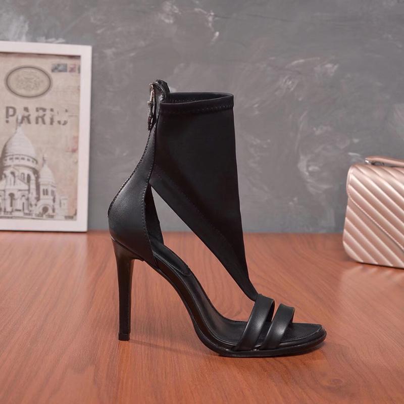 Stili di 10cm alti calza Rosso Colore nero vera pelle Point Toe