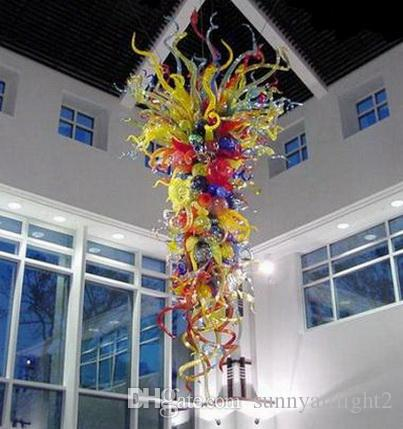 Colorido Grande Handmade soprado de Murano Vidro Lustres Chihuly Estilo LED Saving Fonte de Luz luzes de teto modernas