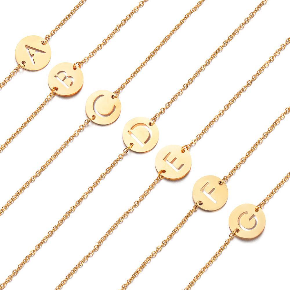 Сказочный 100% натуральная нержавеющая сталь, заполненная золотом A-Z Начальное имя Письмо Шарм Браслет для женщин Женский