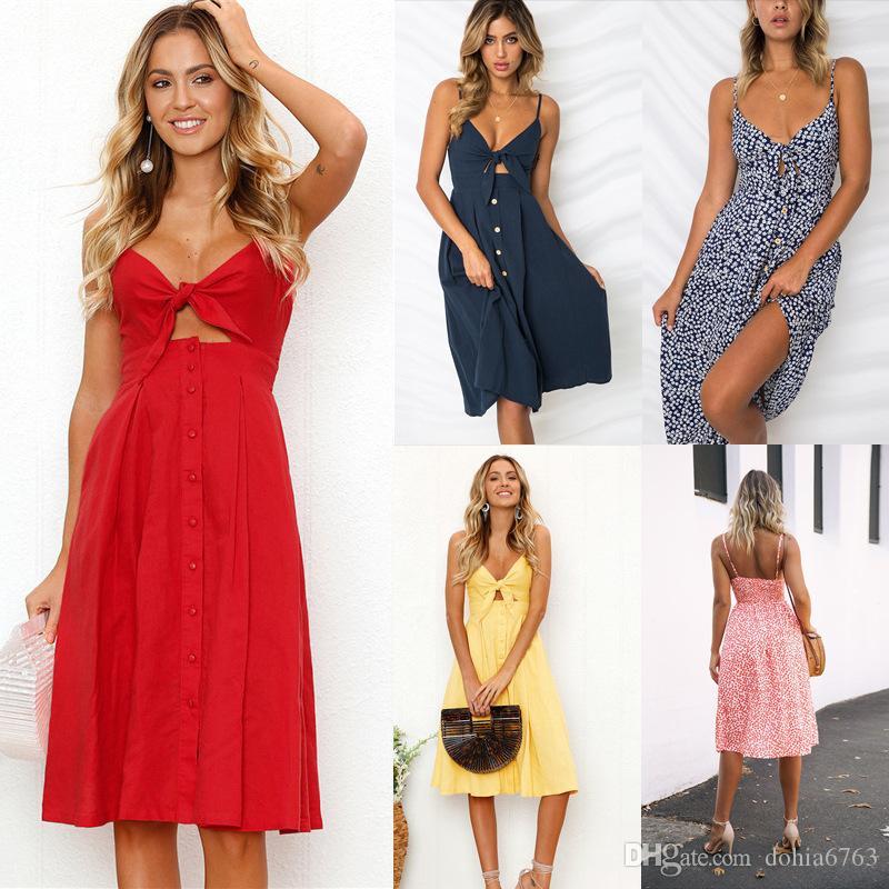 Frühling und Sommer Sexy Mode verstellbare Sling Button Open Back Bow Dress