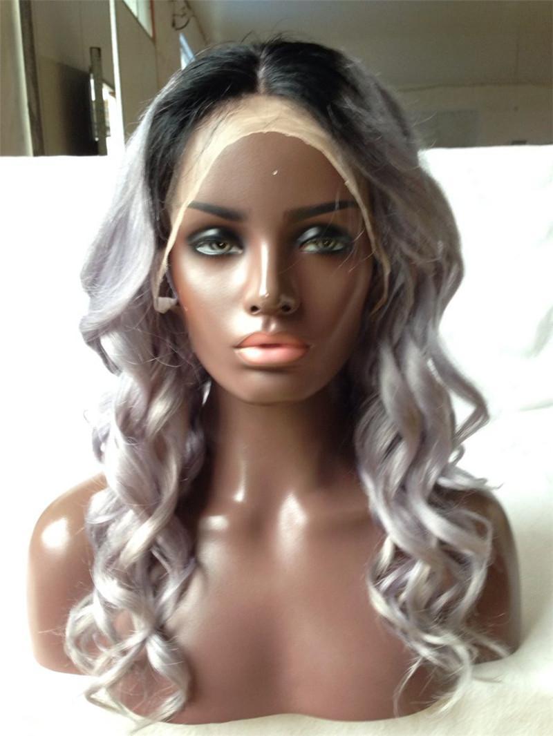Spring Curl 1b / Sliver Pre plumé Ombre humaine Perruques 8 -24inch de dentelle perruques avant de dentelle perruques de cheveux humains pour les femmes noires avec des cheveux de bébé