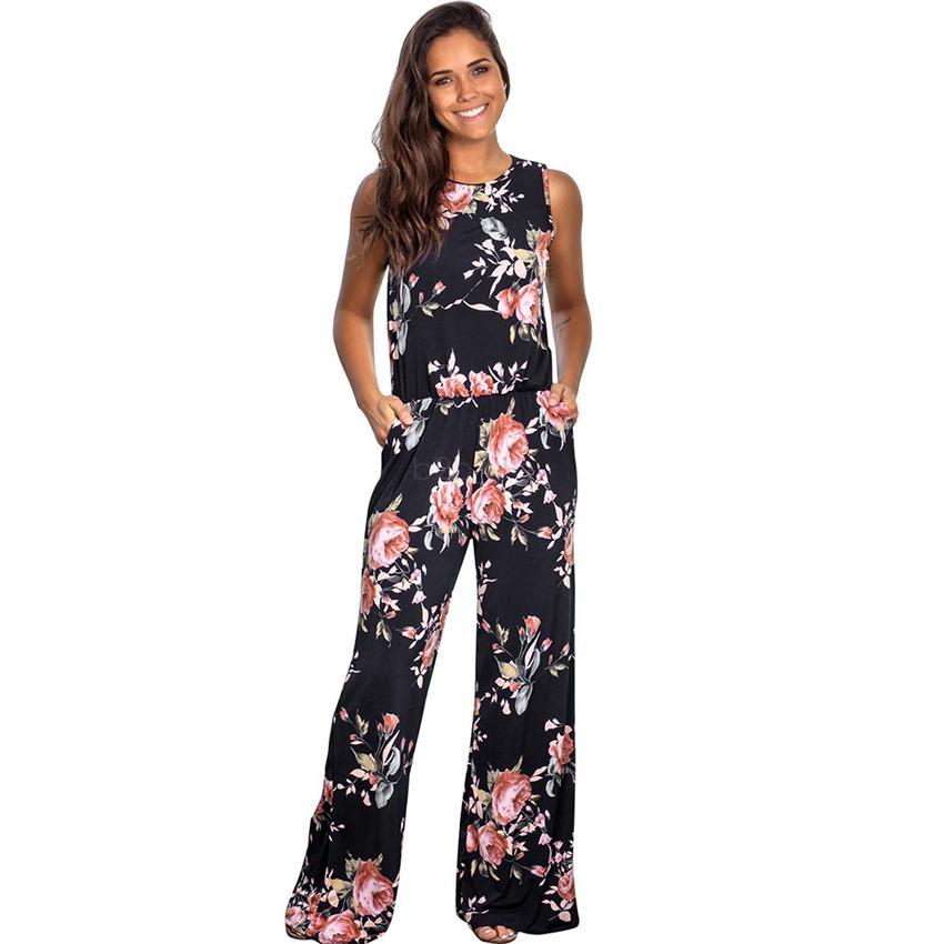 Kadınlar Geniş bacak Çiçek Tankı Romper Overlenth Kadınlar Yumuşak Moda Elastik Kemer playsuit LJJA2588 giyim Pockets tulum