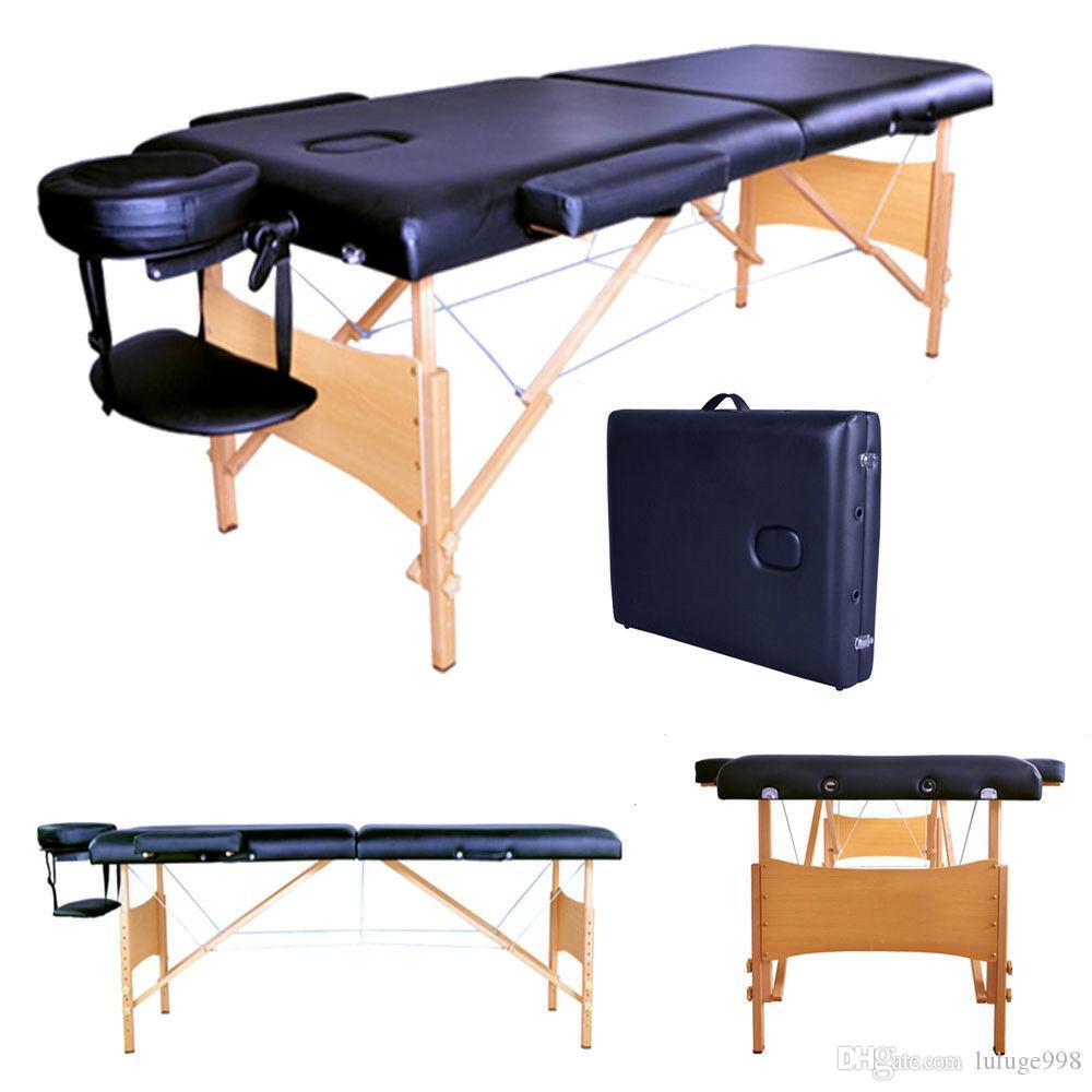 """Table de massage portable noire de 2 pad 84 """"Table de massage de coiffe de transport gratuit Spa Spa SpA Traitement du visage"""