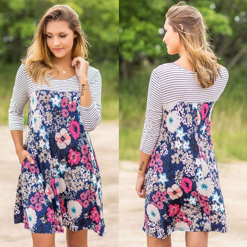 BOHO 여자 여성 스트라이프 긴 소매 꽃 여름 가을 파티 드레스 여자 꽃 비치 짧은 미니 드레스를 스윙