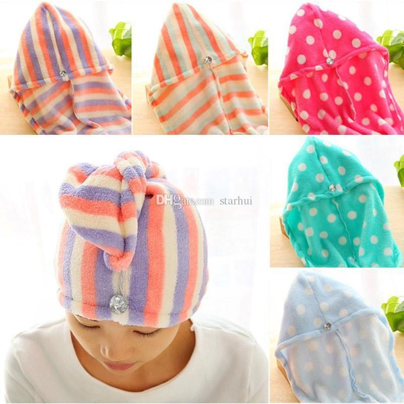 Mulheres Banho Super absorvente de secagem rápida Superfine fibra flor Toalha de banho Dry Hair Bath Cap Salon Toalha touca DHL gratuito WX9-430