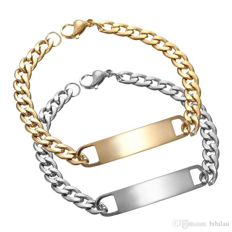 (TB-0011) 20 cm x 8 mm 316L titanium steel Chain Bracelets Jewelry For Men Fashion Jewelry Gold Color No Fade