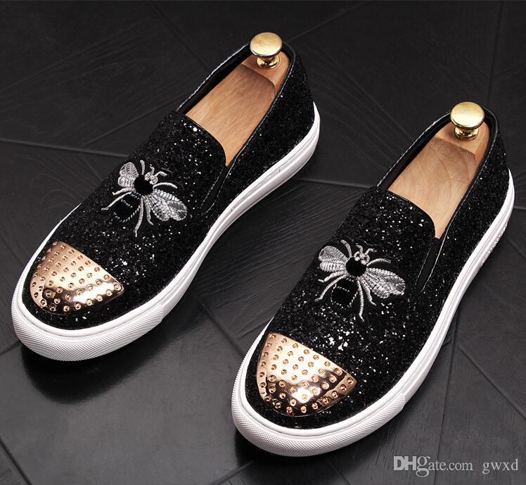 New Style Summer Italy Designed Men Velvet Loafers Luxury Slip On Party Dress Men Flats Embroidery Driving Mocassin Casual Shoes W205