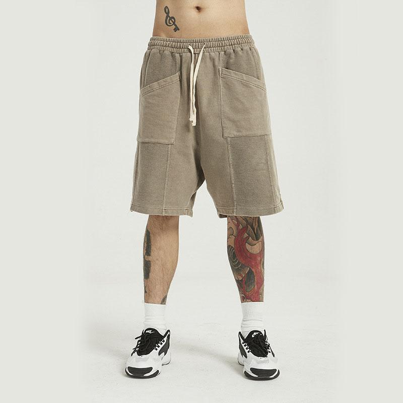 Erkekler Yaz Vintage Streetwear Hip Hop Gevşek Casual Şort Erkek Harem Kısa Pantolon Fermuar Cep Sportwear Shorts Yıkanmış