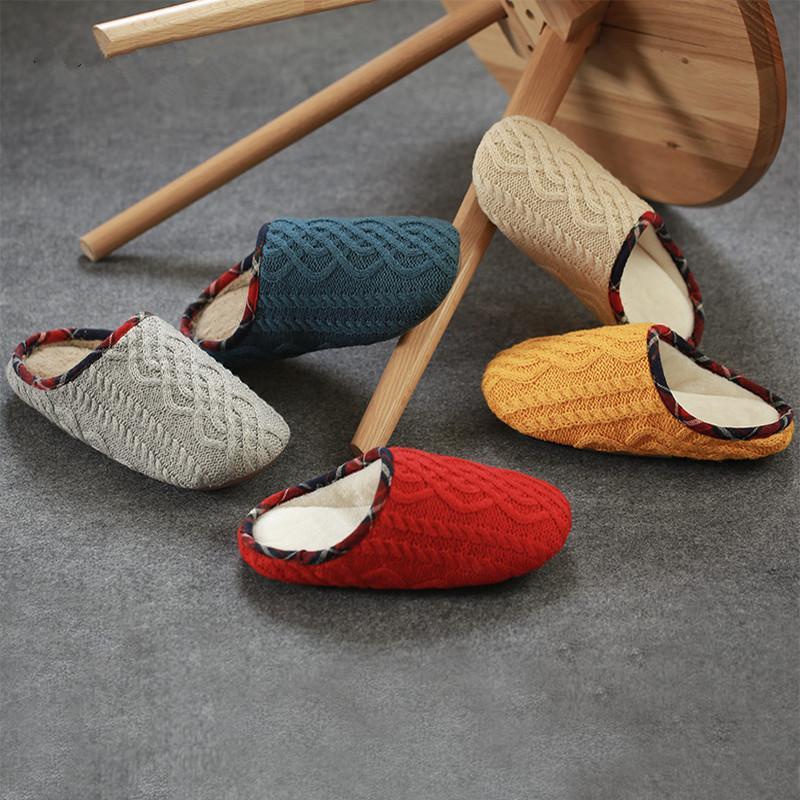 Inverno de mulheres Indoor Chinelos Japão estilo acolhedor de malha confortável casais Chinelo bela cor Casual Casa Sapatos