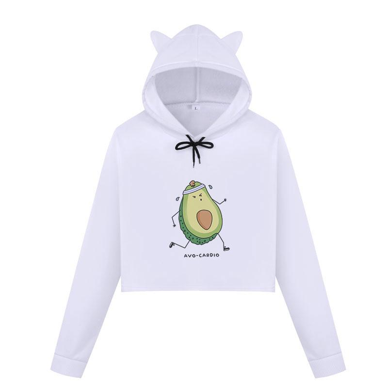 Frucht Kawaii Cartoon-Ananas-Druck-Grafik Crop Tops Hoodies Sweatshirts Frauen Avocado Netter Vegan Gelegenheits Harajuku Street