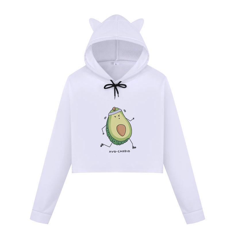 Fruto Kawaii dos desenhos animados abacaxi impressão Cortar gráfico Tops Abacate hoodies camisolas das mulheres bonito Vegan Casual Harajuku Streetwear