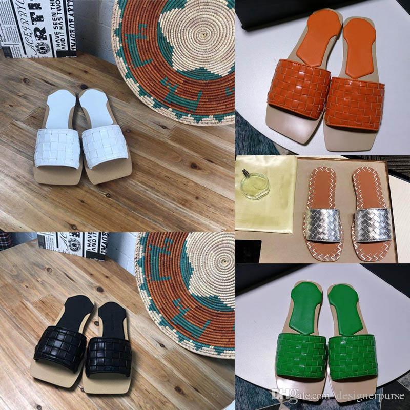 جديد NAPPA STUOIA SANDALS فاخر مصمم أحذية صندل مسطح SANDALS IN STUOIA NAPPA party اصبع مربعة اصبع القدم النسائية النعال المنسوجة