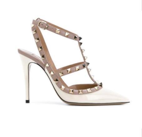 뜨거운 판매 - 여성 하이힐 샌들 결혼식 신발 특허 가죽 샌들 여성 박힌 끈으로 정장 구두는 하이힐 신발 + 로고 + 상자를 v에 리벳