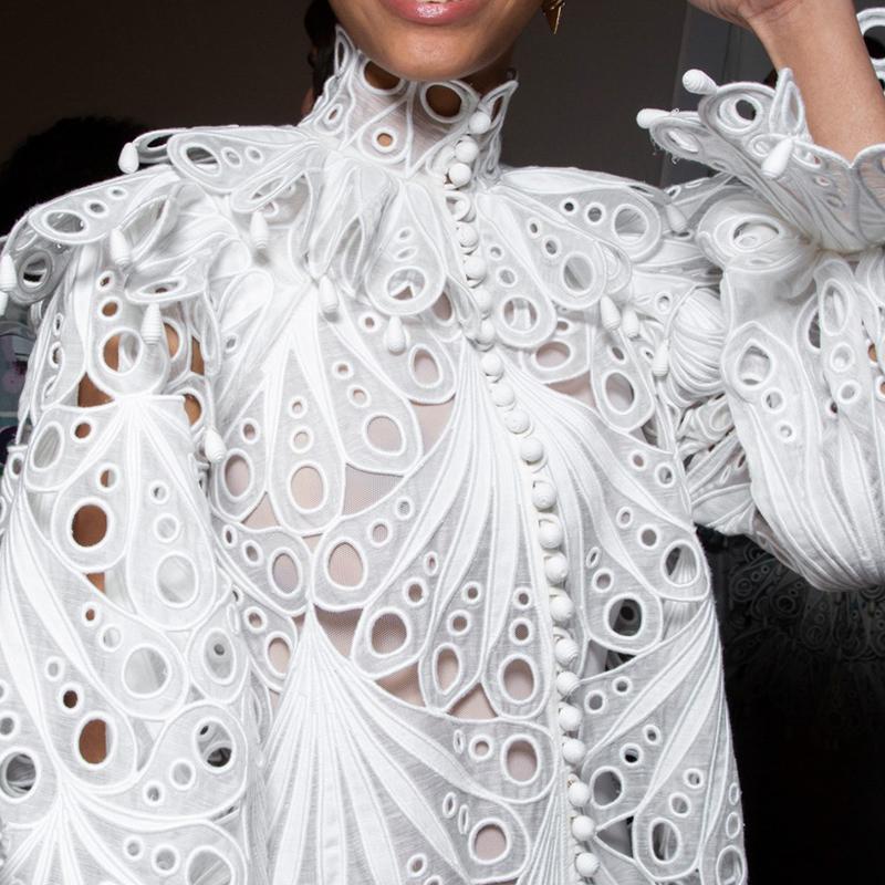 Boho Inspirado 2020 Primavera Vintage Blusa Branco Mulheres Manga Longa Escavada Mulheres Blusas Camisas Chic Ruffle Manga Boho Blusa