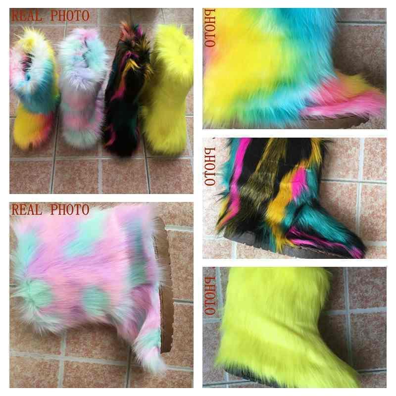 Reave CAT peludo nieve con una bolsa diadema de lujo botas de invierno para las mujeres Alta bota de piel Zapatos Y200115