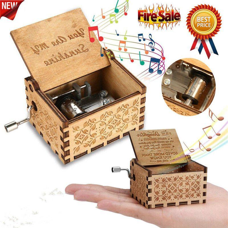 Music Box de madeira Mão Clockwork presente da festa de aniversário de 'You Are My Sunshine' US