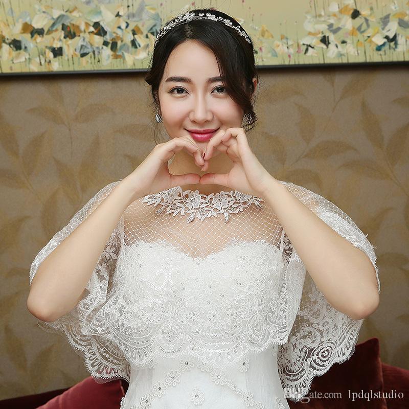 2019 Summer Bridal Boleros Accessoires de mariage ivoire Bridal wraps Tulle molle avec applique floral Livraison gratuite