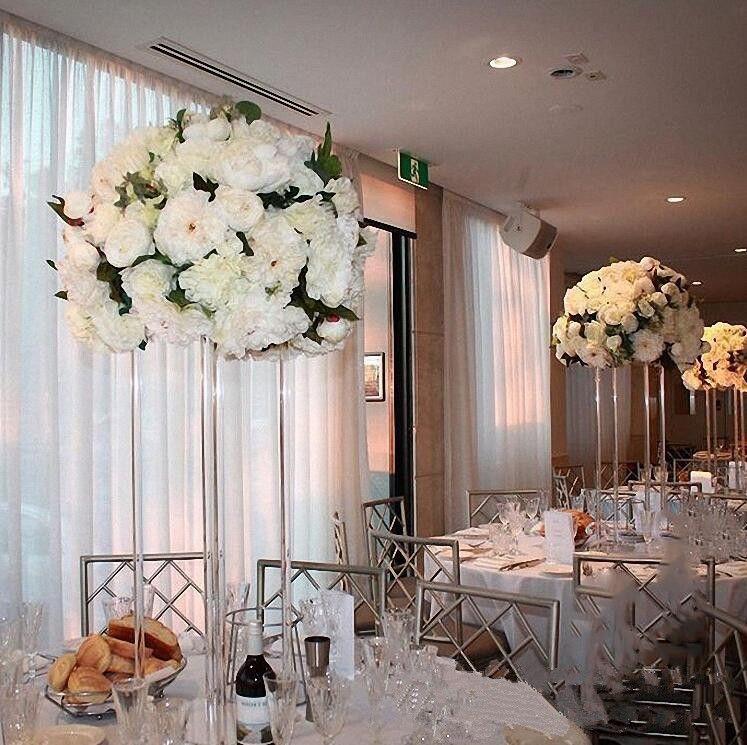 نمط جديد واضح طويل القامة الزفاف الاكريليك الكريستال الجدول محور الزفاف أعمدة زهرة حامل لتزيين الجدول