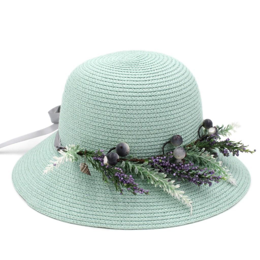 Ladies Women's Straw Cloche Summer Beach Sun Hat Foldable Bowler Cap DIY Flower Band 4