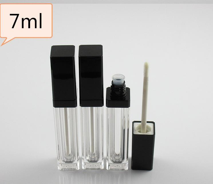 7ml quadratische Form Lip Gloss Tube leer Kosmetische Flasche Klaren Lip Gloss Tubes Container Flasche mit schwarzem Pinsel SN792