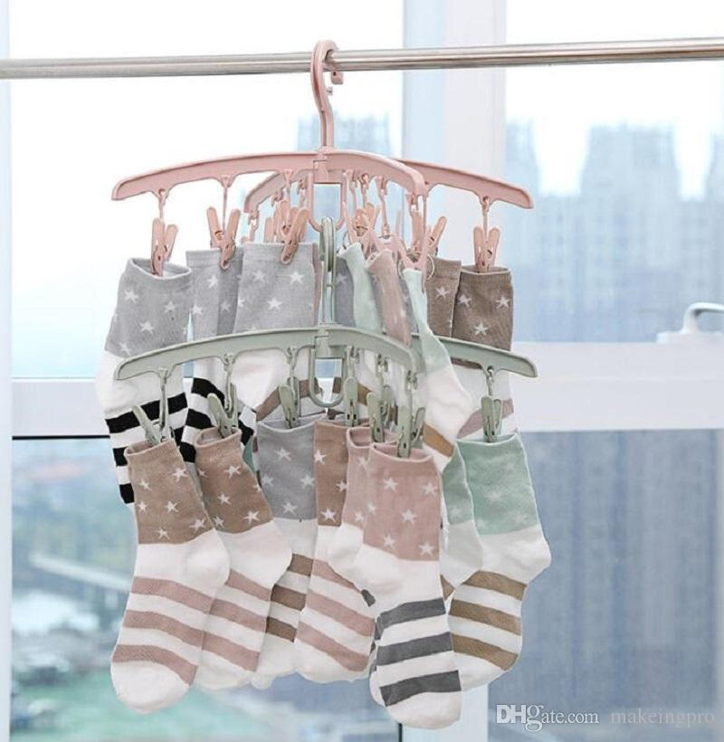 Plastic clothes hangers clothes rack multi-clip clothes peg hook drying inner hanger socks rack baby multifunctional household